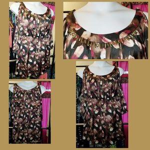 POP of print open shoulder dress
